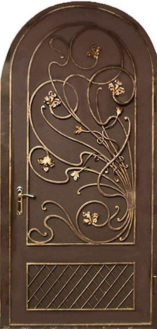 металлические арочные двери с ковкой