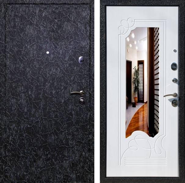металлические двери черный крокодил с зеркалом