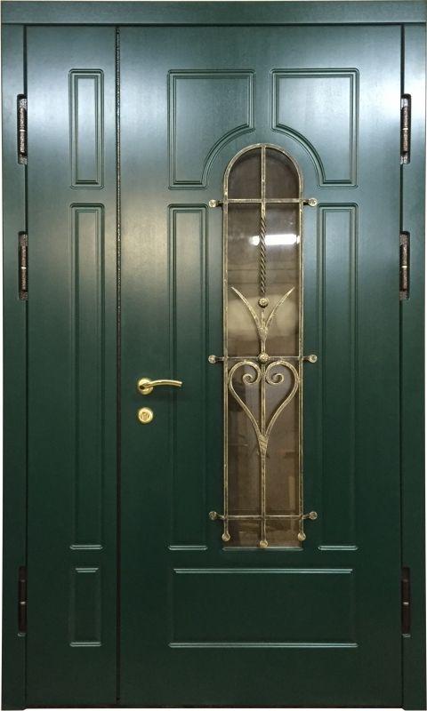 металлические двери со стеклопакетом и ковкой для коттеджа