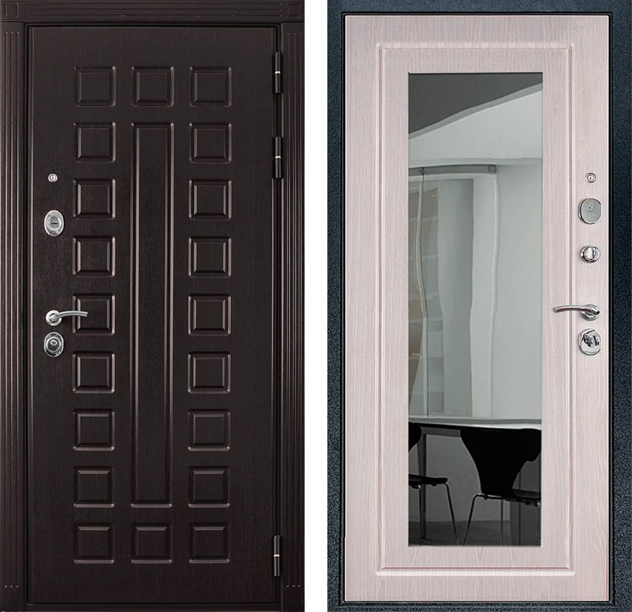 входная дверь с зеркалом снаружи