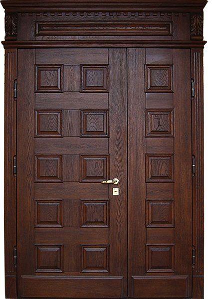 входные двери из массива дерева для коттеджа