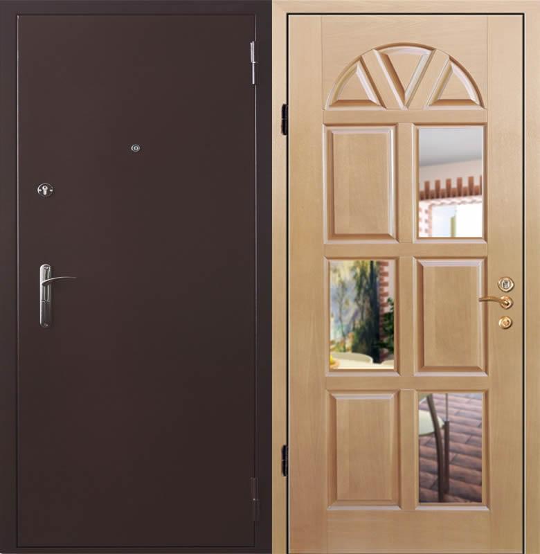 дверь железная со стеклом и ковкой 200х90