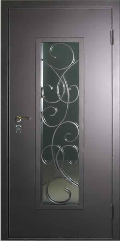 купить металлические двери со стеклопакетом и решеткой