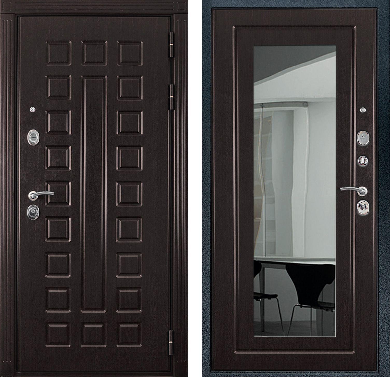 дверь входная венге с зеркалом
