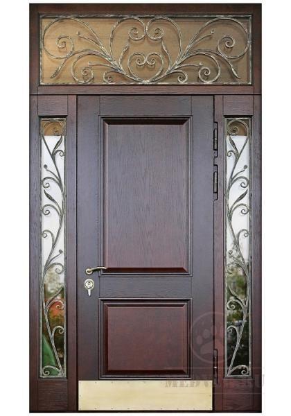 металлические входные двери со вставками сверху и по бокам