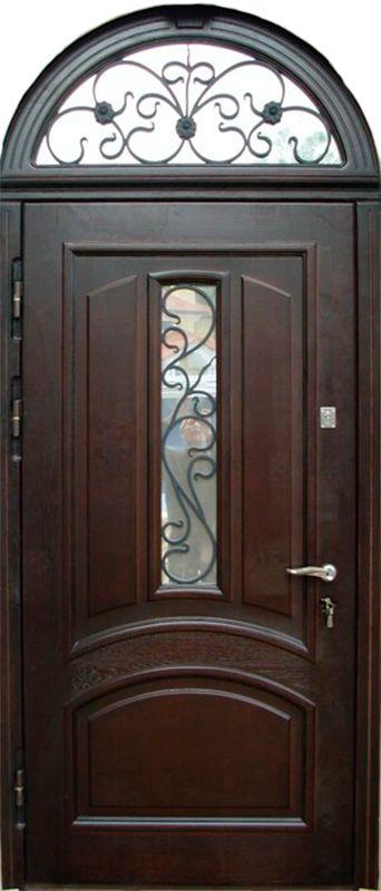 входные арочные металлические двери с бронированным стеклом