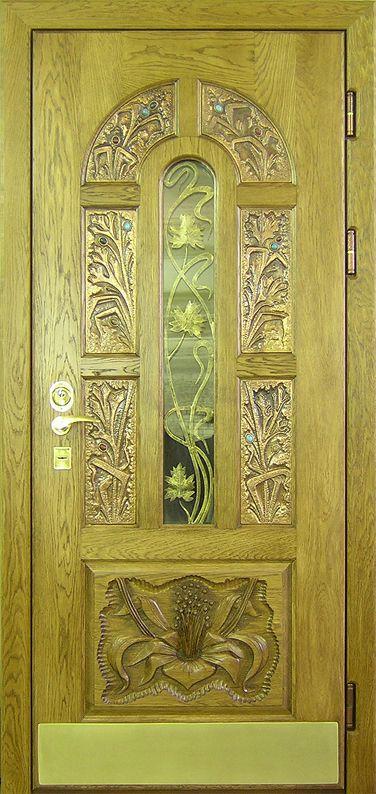 металлические двери массив с резьбой